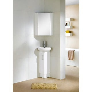 Fine Fixtures Milan Wood White Small Corner Bathroom Vanity