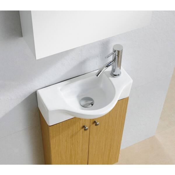 Fine Fixtures Glenwood 17 Inch Wood Yellow Oak White Bathroom Vanity