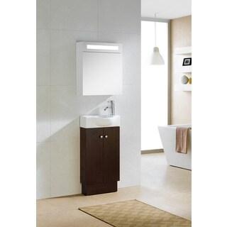 Fine Fixtures Glenwood 17 Inch Wood Wenge/ White Bathroom Vanity
