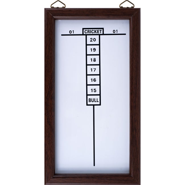 Dry Erase White And Brown Wall Mounted Cricket Dart Game