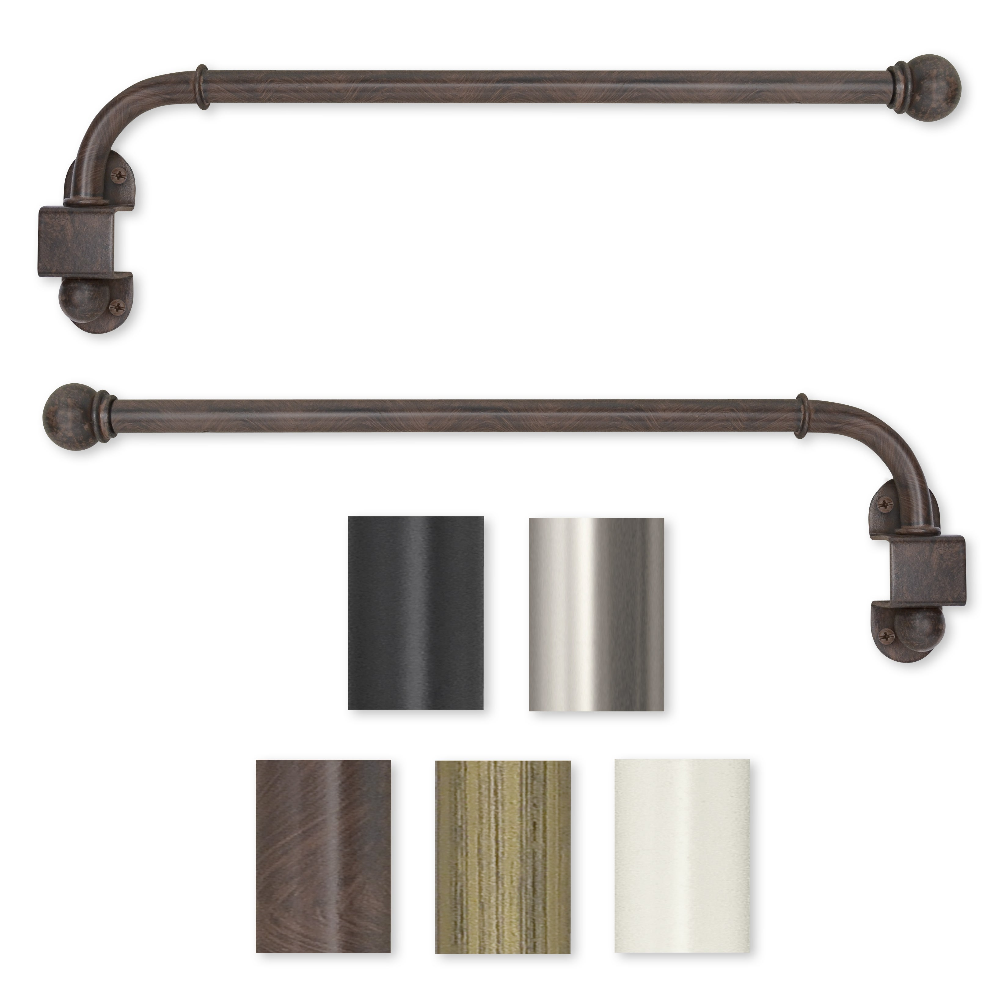 Ceiling mounted curtain rod brackets - Pinnacle Swing Arm 24 To 38 Inch Adjustable Curtain Rod