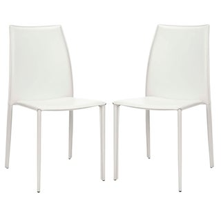 Safavieh Metropolitan Dining Stackable Jazzy Vinyl White Side Chairs (Set of 2)