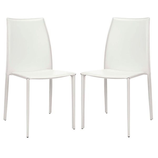 Safavieh Metropolitan Dining Stackable Jazzy Vinyl White Dining Chairs (Set of 2)