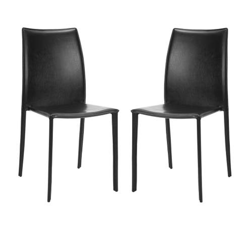 "Safavieh Dining Mid-Century Stackable Jazzy Vinyl Black Dining Chairs (Set of 2) - 18.9"" x 22.8"" x 35.8"""