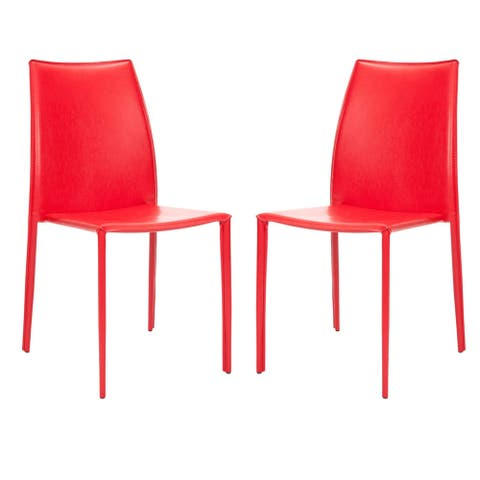 """Safavieh Dining Mid-Century Stackable Jazzy Vinyl Red Dining Chairs (Set of 2) - 18.9"""" x 22.8"""" x 35.8"""""""