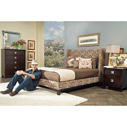 angelo:HOME Marlowe California King-size Coffee and Cream Floral Fabric Shelter Bed - Thumbnail 2