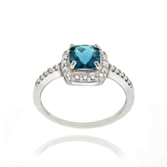 Glitzy Rocks Silver 2 1/6 CTW London Blue Topaz and Diamond Accent Ring