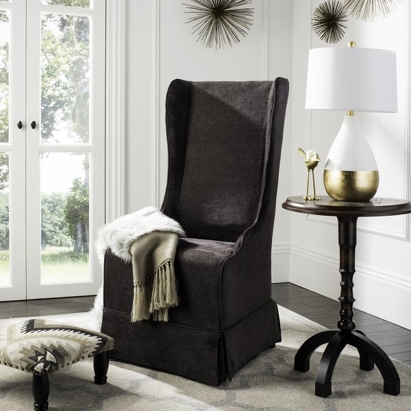 Safavieh En Vogue Dining Deco Bacall Dark Grey Slip Cover Chair