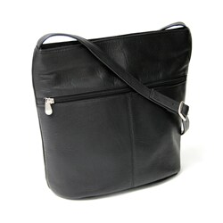 Royce Leather Women's Vaquetta Front Zipper Shoulder Bag