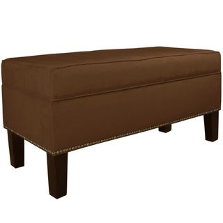 Skyline Furniture Burling Nail Button Storage Bench in Micro-Suede Chocolate