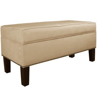Skyline Furniture Burling Nail Button Storage Bench in Micro-Suede Oatmeal