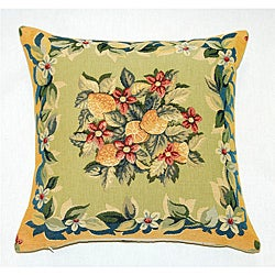 Corona Decor French Jacquard Woven Lemon Feather and Down Filled Decorative Pillow
