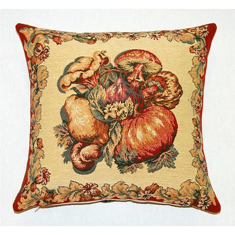 Corona Decor French Jacquard Feather and Down Filled Woven Harvest Decorative Pillow