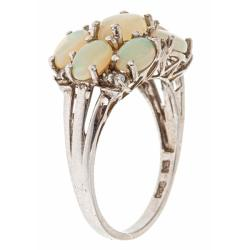D'Yach Sterling Silver Opal and Cubic Zirconia Ring