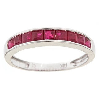 Anika and August 14k White Gold Ruby Fashion Ring - Red