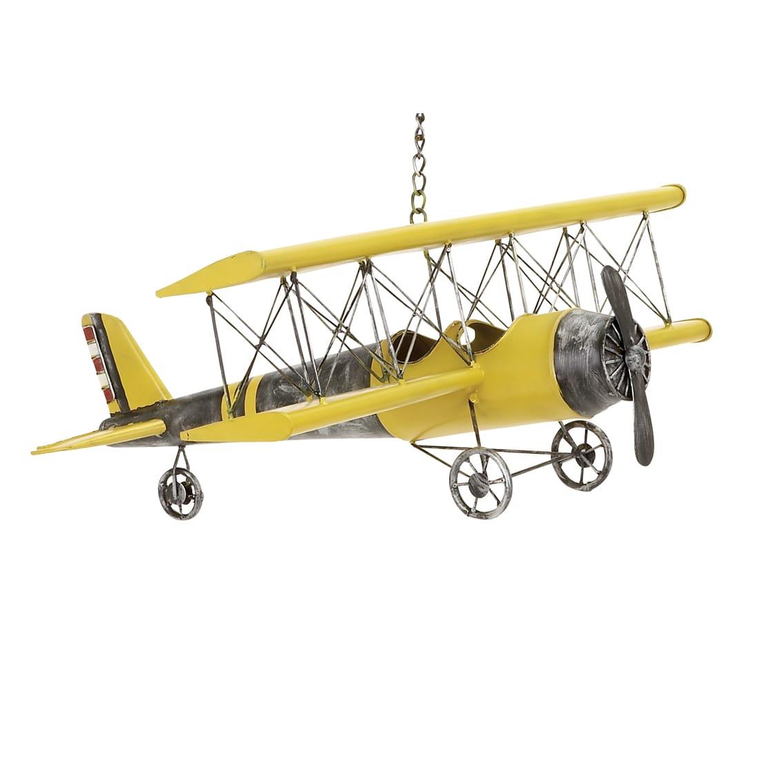 Yellow Antique Die-cast Metal Bi-plane Model