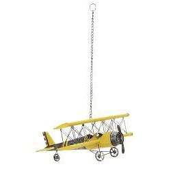Yellow Antique Die-cast Metal Bi-plane Model - Thumbnail 1