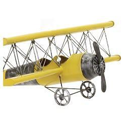 Yellow Antique Die-cast Metal Bi-plane Model - Thumbnail 2
