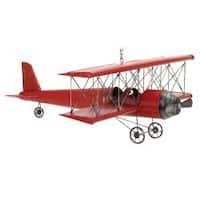 Red 31-inch Metal Bi-Plane Model Toy Replica