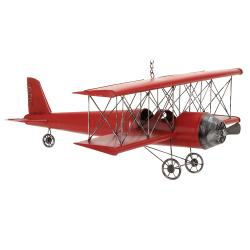 Red 31-inch Metal Bi-Plane Model Toy Replica