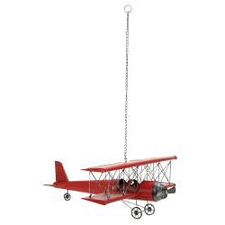 Red 31-inch Metal Bi-Plane Model Toy Replica - Thumbnail 1
