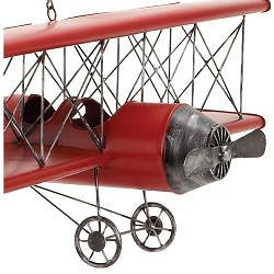 Red 31-inch Metal Bi-Plane Model Toy Replica - Thumbnail 2