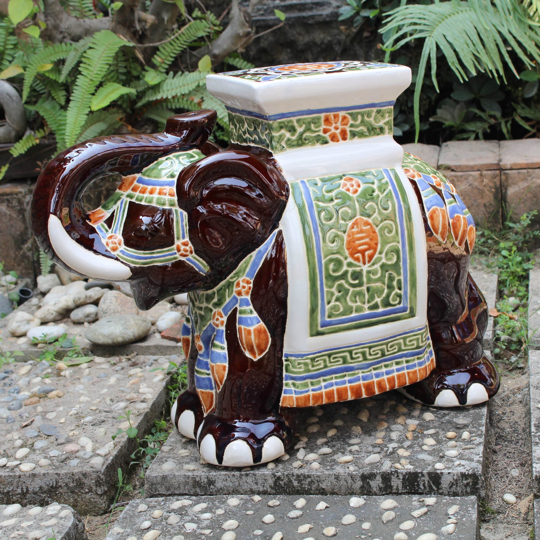 International Caravan Large Porcelain Elephant Stool Ebay