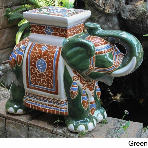 International Caravan Large Porcelain Elephant Stool - Free Shipping Today - Overstock.com - 13680842 & International Caravan Large Porcelain Elephant Stool - Free ... islam-shia.org