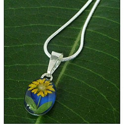 Sterling Silver Single Mini Sunflower Small Oval Necklace (Mexico)