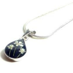 Sterling Silver Snow White Flower Tear Drop Necklace (Mexico)