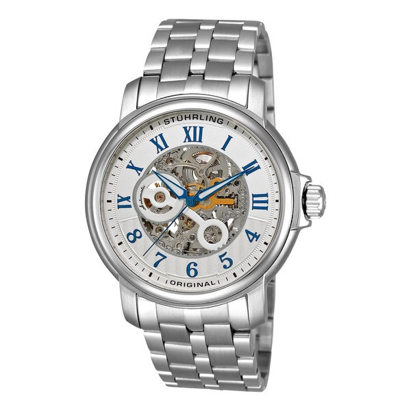 Stuhrling Original Men's King Lear Stainless-Steel Automatic Skeleton Watch