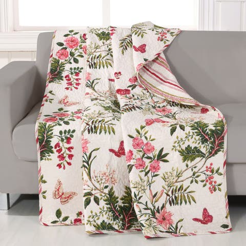 Greenland Home Fashions Butterflies Quilted Throw - Multi