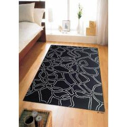 Hand-tufted Abstract Black Wool Rug (5' x 8')