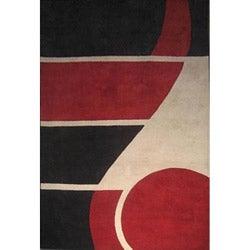 Hand-tufted Horizon Red Wool Rug (5' x 8')