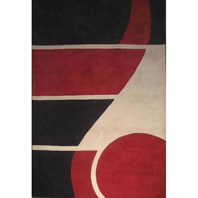 Hand-tufted Horizon Red Wool Rug (8' x 11')