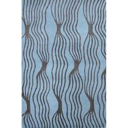 Hand-tufted Rocking Aqua Wool Rug - 5' x 8' - Thumbnail 0