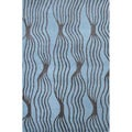 Hand-tufted Rocking Aqua Wool Rug - 5' x 8'