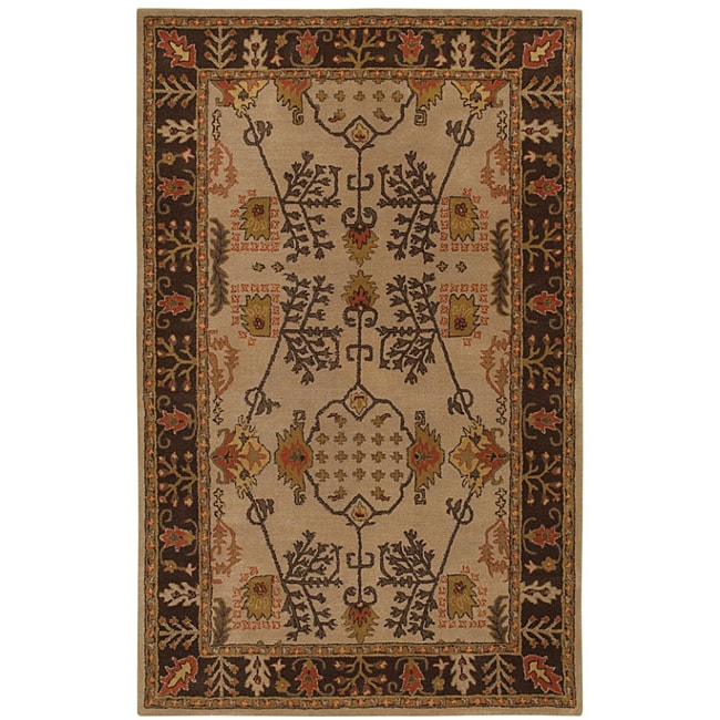 5 X 6 Vintage Kazak Persian Oriental Wool Hand Knotted: Shop Hand-tufted Antique Beige Wool Rug (5' X 8')