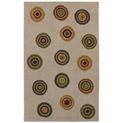 Hand-tufted Circle Wool Rug (5' x 8')