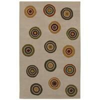 Hand-tufted Circle Wool Rug - 5' x 8'