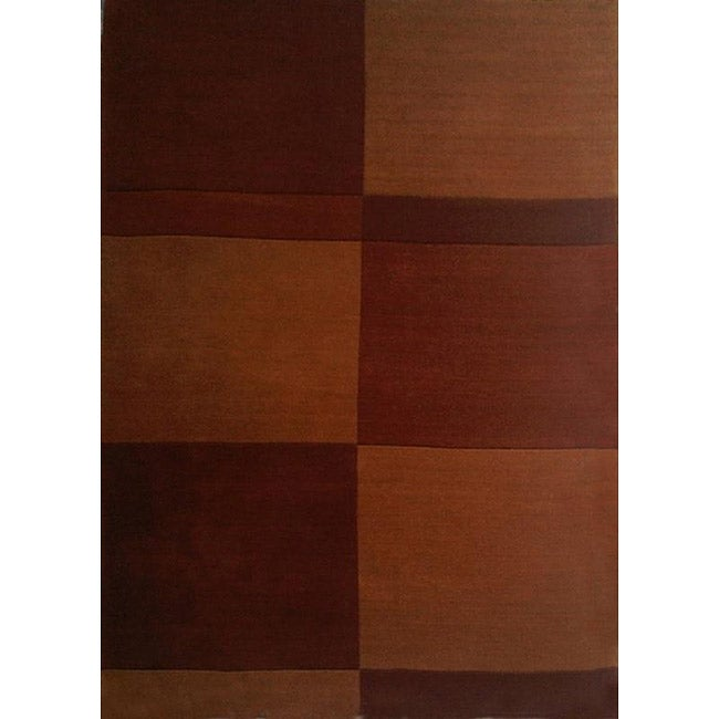 Hand-tufted Block Brown Wool Rug (8' x 11') - Thumbnail 0