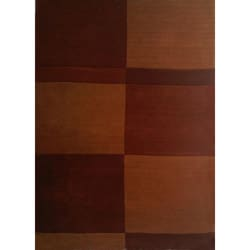 Hand-tufted Block Brown Wool Rug (8' x 11')