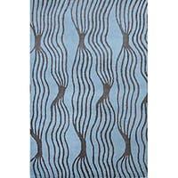 Hand-tufted Rocking Aqua Wool Rug (8' x 11')