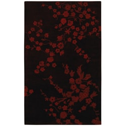Hand-tufted Red Flower Wool Rug (8' x 10'6)