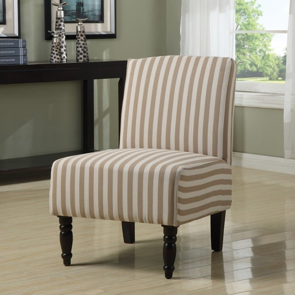Lola Taupe Linen Stripe Armless Chair - Free Shipping Today ...