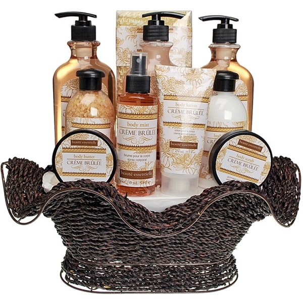 Beaute Essentielle Creme Brulee Bath Set in Country Woven Basket