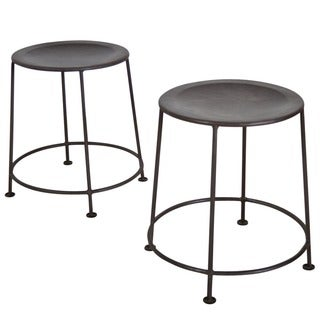 Set of 2 Iron Zinc-finish Stackable Stools (India)