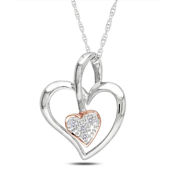 10k Two-tone Gold Diamond Accent Heart Necklace