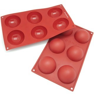 Freshware 6-cavity Half Sphere Silicone Mold/ Baking Pans (Pack of 2)