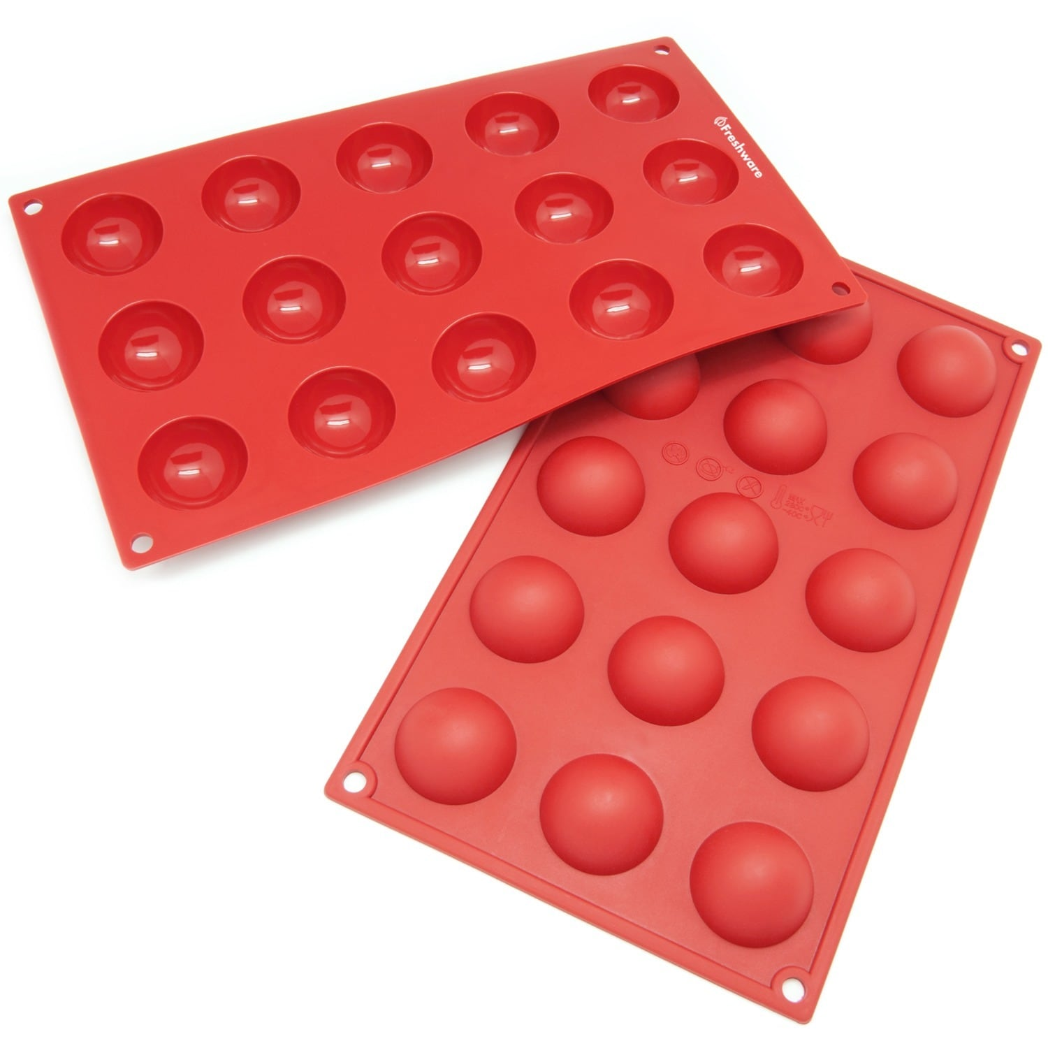 Freshware 15 Cavity Mini Half Sphere Cake Silicone Mold Baking Pans Pack Of 2 Overstock 5992395
